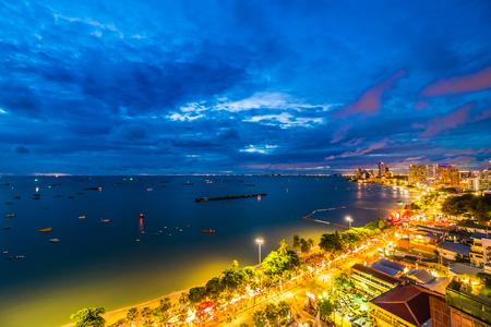Beautiful architecture in pattaya city Thailand at night