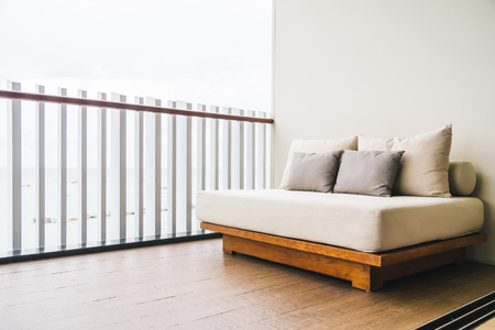 Comfortable pillow on sofa decoration outdoor balcony and patio