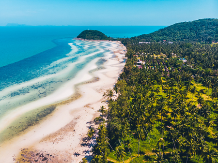Vue aérienne de la belle plage tropicale et de la mer avec des arbres sur l'île pour les voyages et les vacances