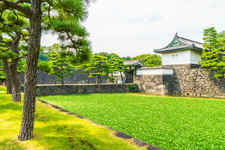 Beautiful old architecture imperial palace castle with moat and bridge at Tokyo city japan