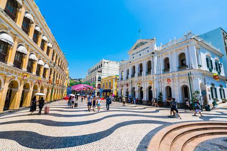 China, Macau - September 6 2018 - Beautiful old architecture building around senado square in macau city Editorial