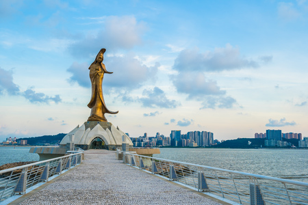 Beautiful Kun iam statue landmark in macau city Editorial