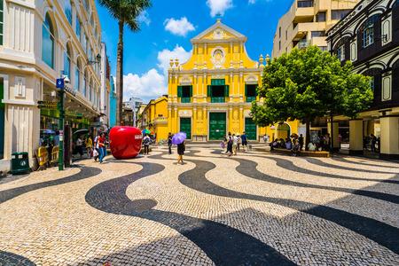 China, Macau - September 6 2018- Beautiful old architecture building with st dominics church in macau city Redakční