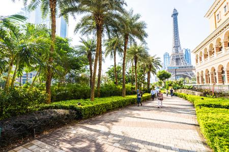 China, Macau - September 10 2018 - Beautiful eiffel tower landmark of parisian hotel and resort in macau city