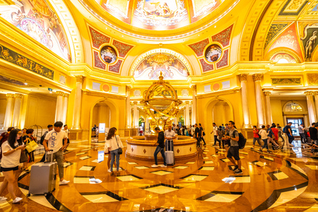 China, Macau - September 10 2018 - Beautiful luxury hotel resort and casino game in Venetian landmark of macau city Editorial