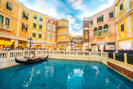 China, Macau - September 8 2018 - Beautiful luxury venetian hotel resort and casino with shopping mall in macau city Editorial