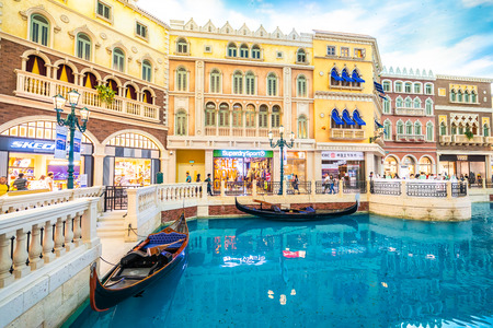 China, Macau - September 8 2018 - Beautiful luxury venetian hotel resort and casio with shopping mall in macau city
