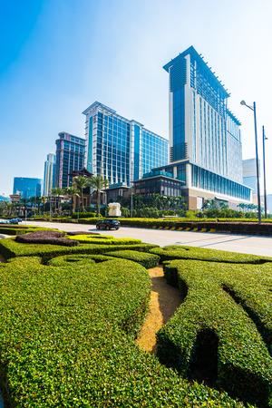 China, Macau - September 11 2018 - Beautiful luxury exterior architecture building of  resort in macau city skyline