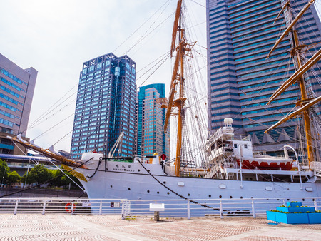 YOKOHAMA JAPAN - JULY 25 2018 : Beautiful Nippon-maru A sailing boat with blue sky in Yokohama city Japan 報道画像