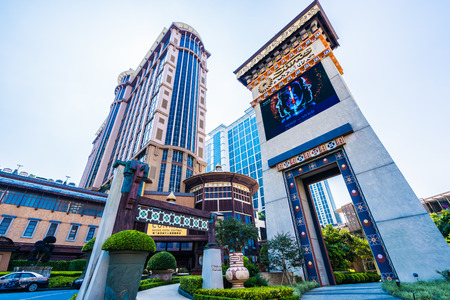 China, Macau - September 11 2018 - Beautiful luxury exterior architecture building of  resort in macau city skyline