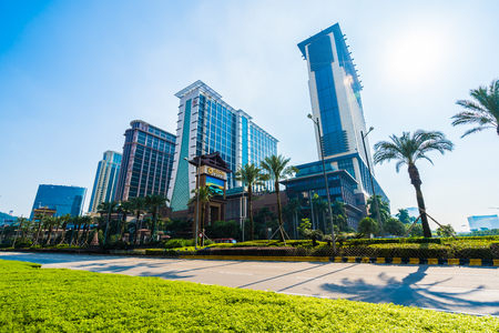 China, Macau - September 11 2018 - Beautiful luxury exterior architecture building of hotel resort in macau city skyline Editorial