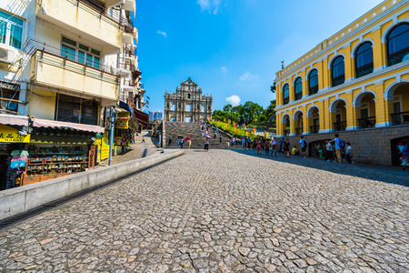 China, Macau - September 6 2018 - Beautiful old architecture building with ruin of st  paul church landmark of macau city with blue sky