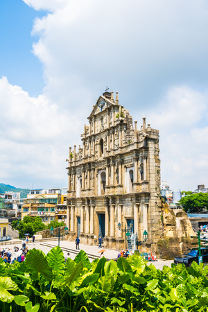 Beautiful old architecture building with ruin of st pual church landmark of macau city with blue sky background