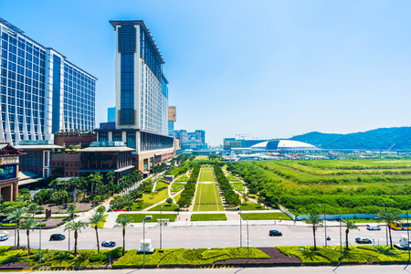 China, Macau - September 11 2018 - Beautiful luxury exterior architecture building of hotel resort in macau city skyline Editorial