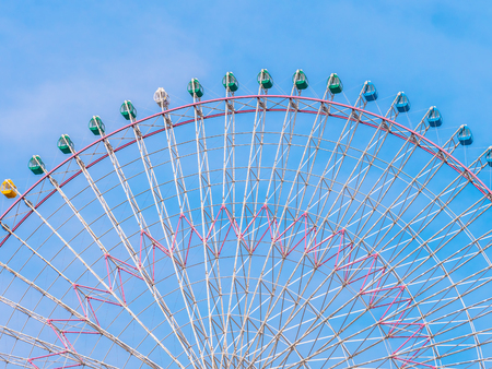 Ferris wheel in the park with blue sky background - Vintage Filter 스톡 콘텐츠