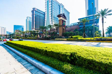 China, Macau - September 11 2018 - Beautiful luxury exterior architecture building of hotel resort in macau city skyline Imagens - 115507704