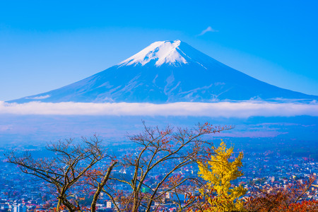Beautiful landscape of mountain fuji around maple leaf tree with white cloud and blue sky in autumn season at Yamanashi Japan Imagens - 115505219