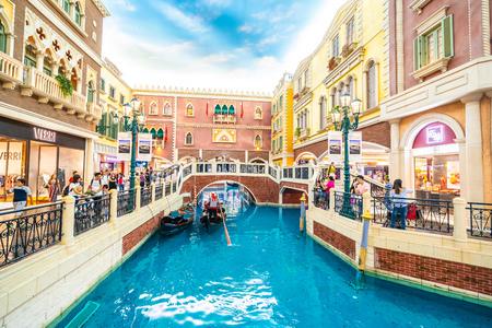 China, Macau - 8. September 2018 - Wunderschönes venezianisches Luxushotelresort und Casio mit Einkaufszentrum in Macau-Stadt Editorial