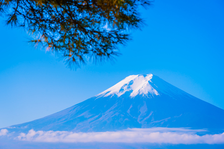 Beautiful landscape of mountain fuji around maple leaf tree with white cloud and blue sky in autumn season at Yamanashi Japan Standard-Bild - 125464144