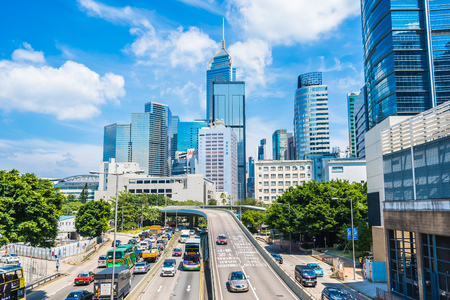Hong kong, China - 15 Sep, 2018 : Beautiful architecture office building exterior skyscraper in hongkong city Imagens - 115507711
