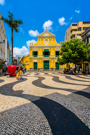 China, Macau - September 6 2018- Beautiful old architecture building with st dominics church in macau city