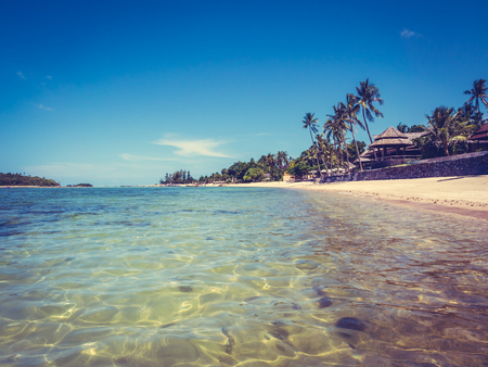 Beautiful tropical beach and sea with coconut palm tree for travel and vacation Imagens - 115503777