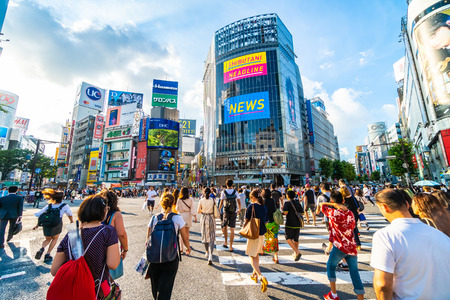 Tokyo, Japan Jul 29, 2018 : Shibuya intersection or crossing is the popular and landmark place in tokyo for shopping eating and have a lot of pedestrain in here Editorial