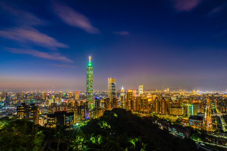 Beautiful landscape and cityscape of taipei 101 building and architecture in the city at twilight and night Taiwan