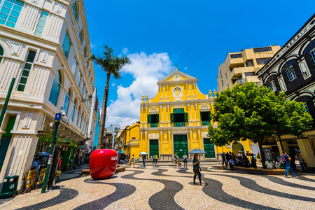 China, Macau - September 6 2018- Beautiful old architecture building with st Dominic church in Macau city Editorial