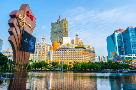 China, Macau - September 9 2018 - Beautiful architecture and cityscape of Whynn hotel resort and casino in Macau city