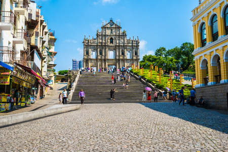 China, Macau - September 6 2018 - Beautiful old architecture building with ruin of st paul church landmark of Macau city with blue sky Editorial