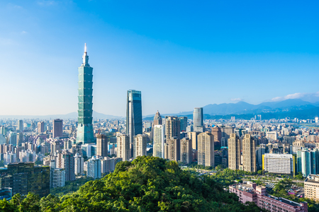 Beautiful landscape and cityscape of taipei 101 building and architecture in the city skyline with bluesky and white cloud at Taiwan