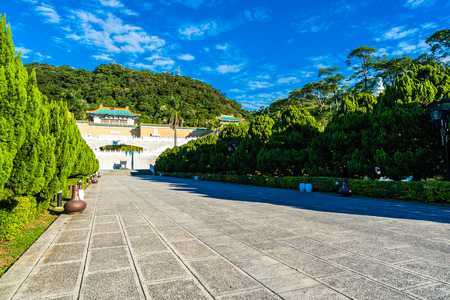 Beautiful architecture building exterior of landmark of taipei national palace museum for travel in taiwan