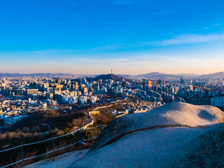 Beautiful Architecture building cityscape with tower in Seoul city South Korea Stock fotó
