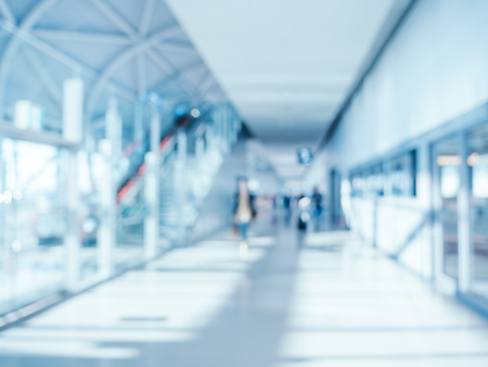 Abstract blur and defocused airport terminal interior for background