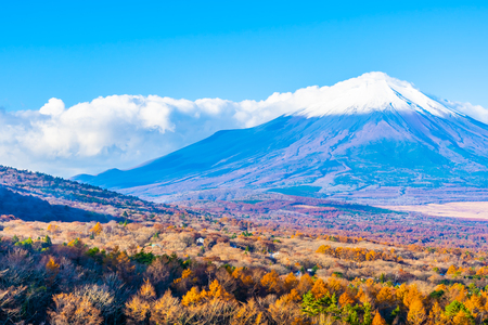 Beautiful landscape of fuji mountain in yamanakako or yamanaka lake in autumn season Japan Imagens - 115468485
