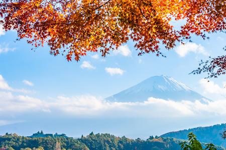 Beautiful landscape of mountain fuji with maple leaf tree around lake in Yamanashi Japan Imagens - 115468486