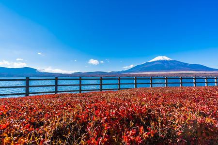 Beautiful landscape of mountain fuji around yamanakako lake Japan Imagens