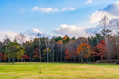 Beautiful landscape of mountain fuji with maple leaf tree around lake in autumn season Yamanashi Japan