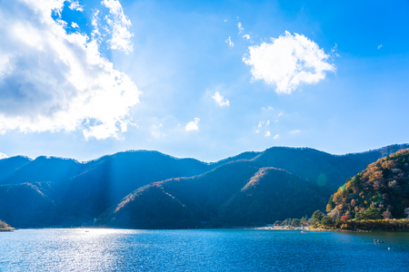 Beautiful landscape around lake kawaguchiko in autumn season Yamanashi Japan 写真素材 - 114961499