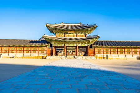 Beautiful architecture building Gyeongbokgung palace in Seoul South Korea 写真素材 - 114944564