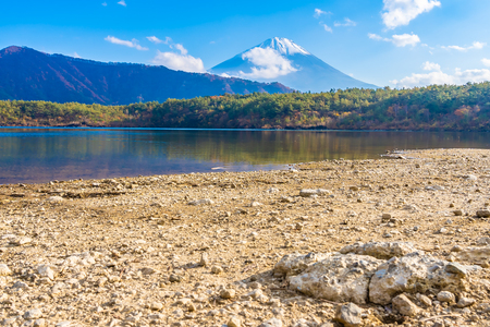 Beautiful landscape of mountain fuji with maple leaf tree around lake in Yamanashi Japan Standard-Bild - 127069435