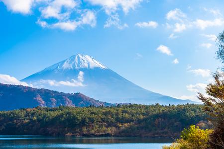 Piękny krajobraz górskiego fuji z liśćmi klonu wokół jeziora w Yamanashi w Japonii