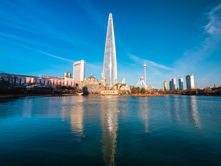 Seoul, South Korea : 8 December 2018 Beautiful architecture building Lotte tower is the one of landmark in Seoul City Redakční