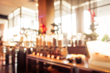 Abstract blur coffee shop cafe and restaurant buffet interior Imagens