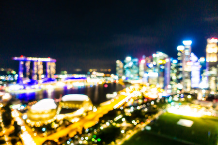 Abstract blur and defocused Beautiful architecture building exterior of singapore city
