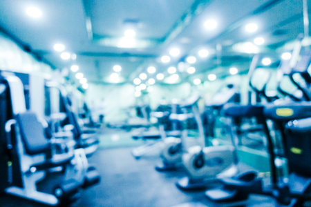 Abstract blur and defocused gym and fitness equipment of interior