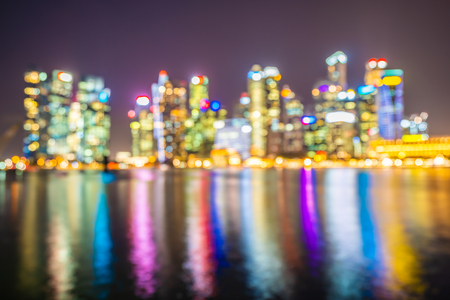 Abstract blur Beautiful architecture building landmark exterior in the city skyline at twilight and night time Imagens