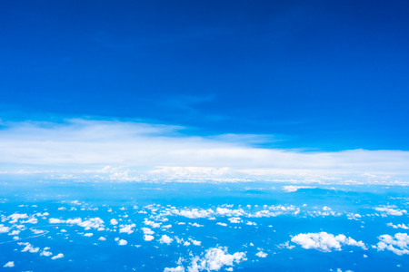 Aerial view of beautiful nature with white cloud and blue sky