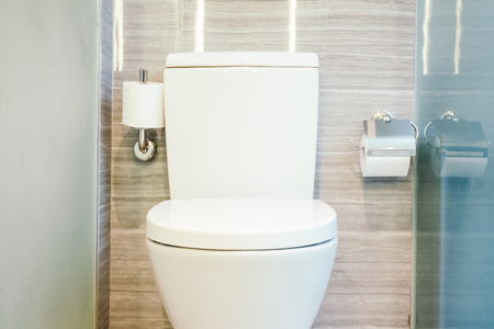 Beautiful luxury white toilet seat and bowl in bathroom interior